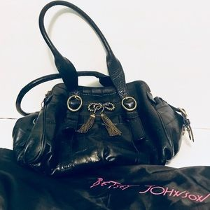 Betsey Johnson Brass Bow Black Bag